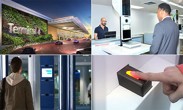 Clockwise from top left: Changi Airport's new T4 will make use of facial recognition technology; biometric technology is at the heart of the Aruba Happy Flow single passenger token project; the US-based CLEAR programme makes use of fingerprint validation technology; and Australia is rolling out biometric-enabled e-gates for outbound passengers at eight major airports.