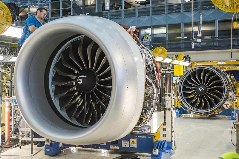 Partly dressed in its Boeing-designed inlet, the first Leap-1B is readied for installation on the initial 737-8, with the second engine next in line. Credit: CFM International/Boeing #aerobdnews