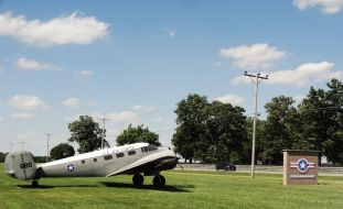 The Beech C-45 shows some wear from the weather. It really attracts the attention of travelers passing by!