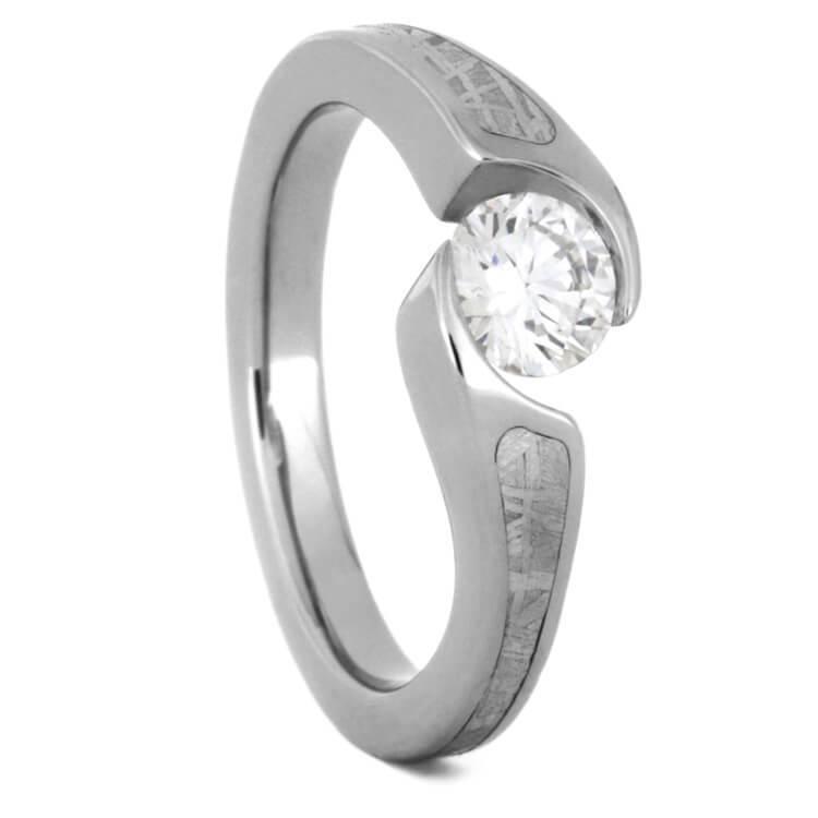 7a669e77b56e5 Engagement Ring, Tension Set Diamond and Meteorite: 2275 - Aerolite  Meteorites