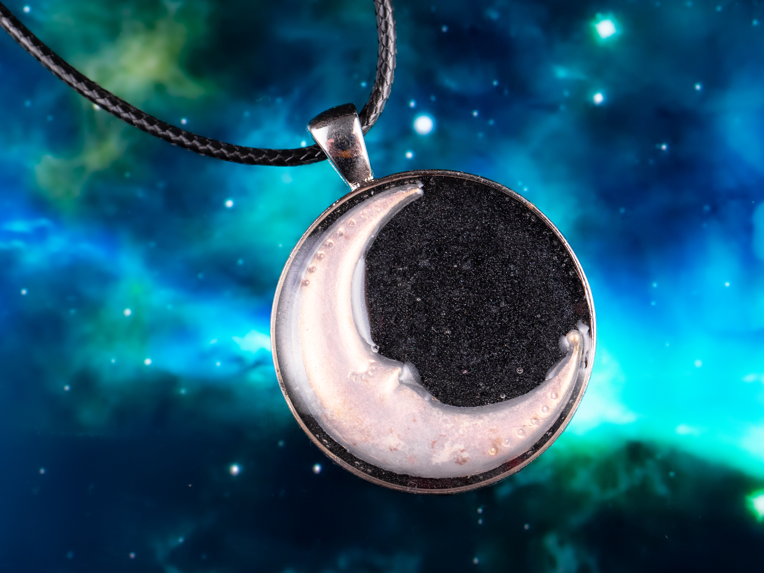 moon dust and black salt necklace
