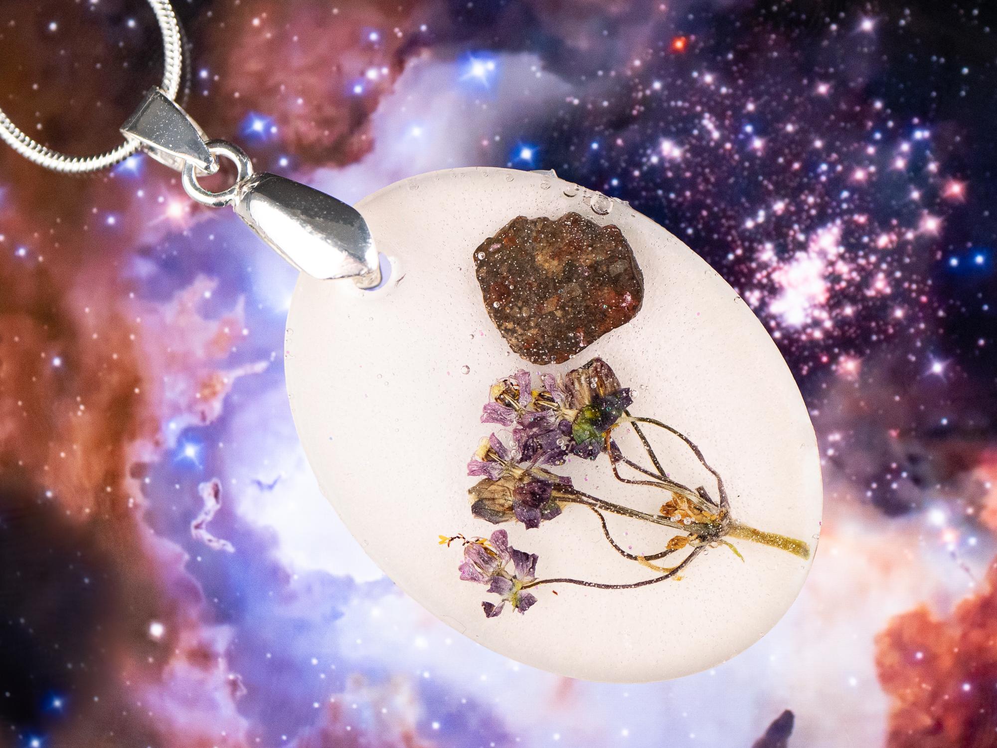 stone and wildflower pendant
