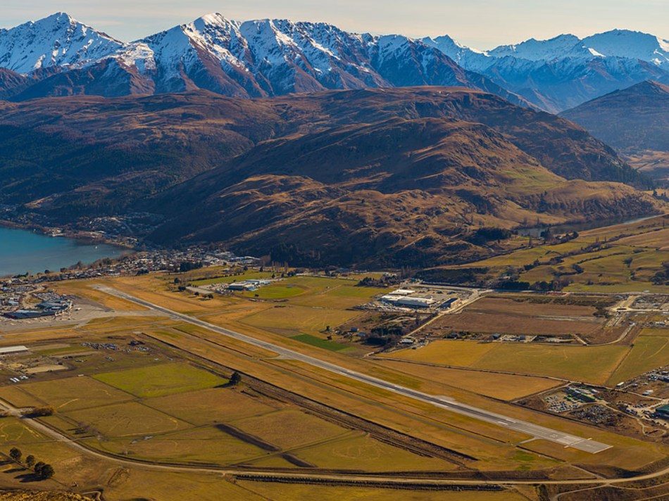 Aerial view of Frankton and Queenstown Airport