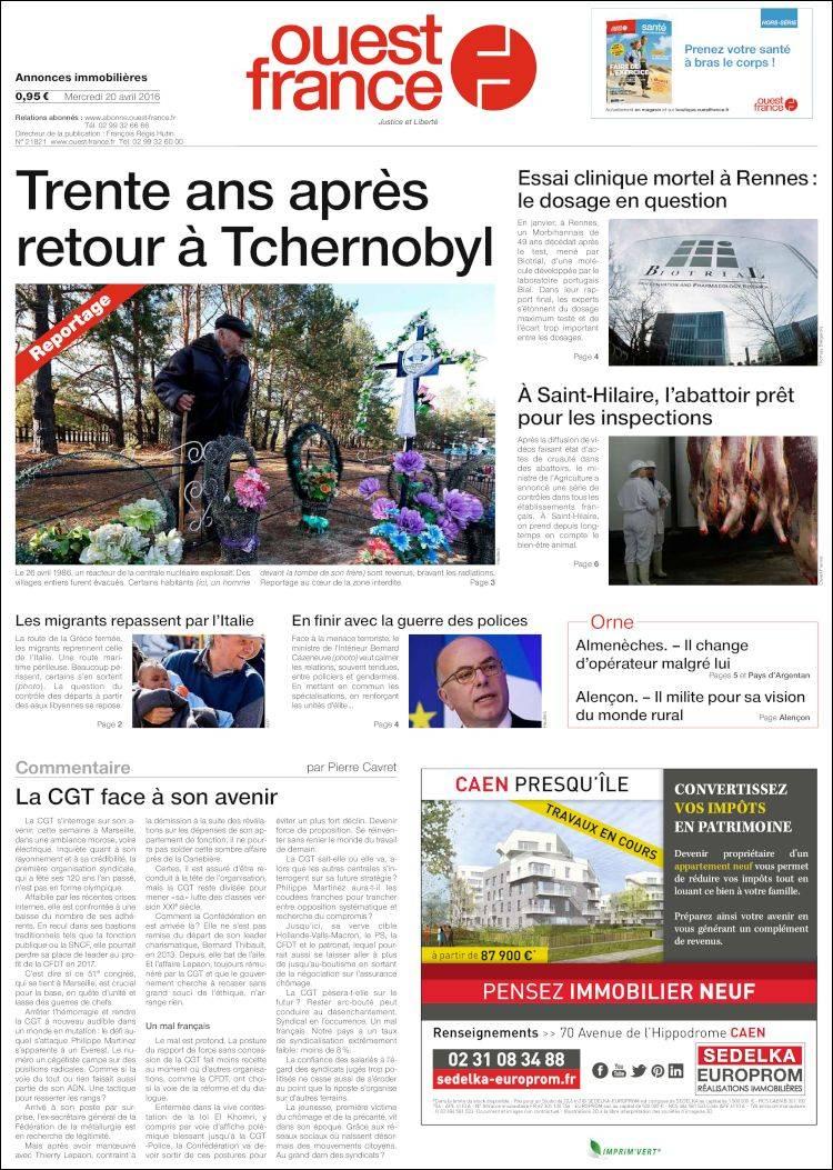 Couv ouest-france du 20 avril 2016