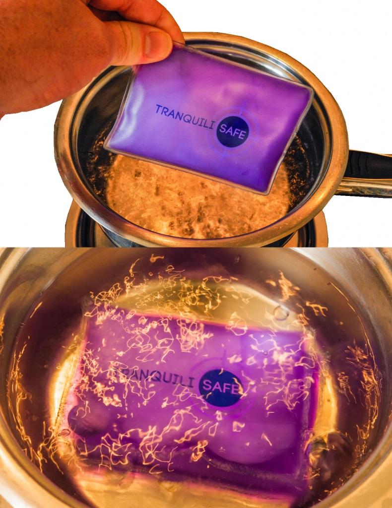 Reclyclage des chaufferettes dans une casserole d'eau bouillante