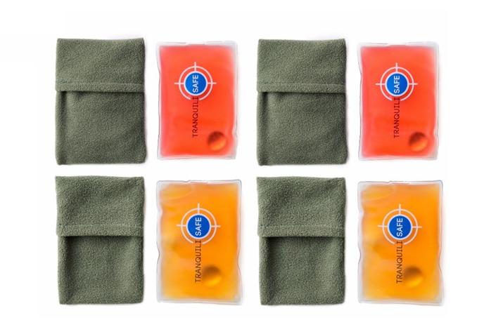 Photo: lot de 4 chaufferettes et de 4 pochettes individuelles en microfibre Tranquilisafe