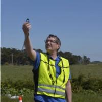 Mesure de la vitesse du vent à l'aide d'un anémomètre – Photo Audrey LE GAL