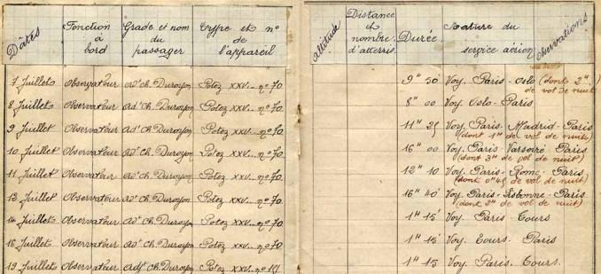 Le carnet de vol de Victor Lasalle