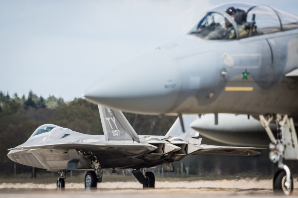 © Harry Measures - Raptor launches whilst home team looks on - F-22 Raptor Deployment to RAF Lakenheath