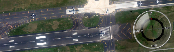 Philadelphia's Runway 27Left points to approximately 270º