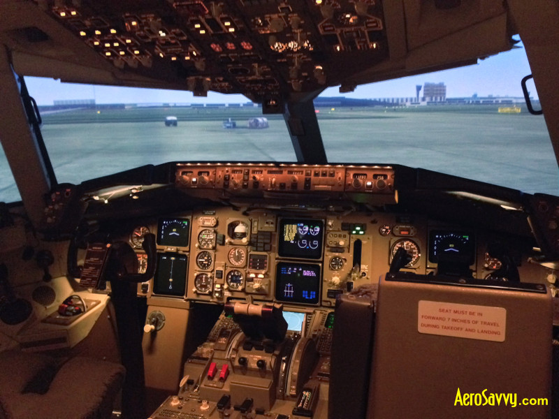 Thales Training & Simulation B-767-300ER Simulator. Sitting on the apron, ready for engine start and taxi.