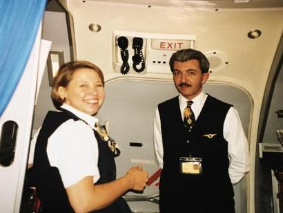 Gail in the galley - UPS Passenger Flights - AeroSavvy