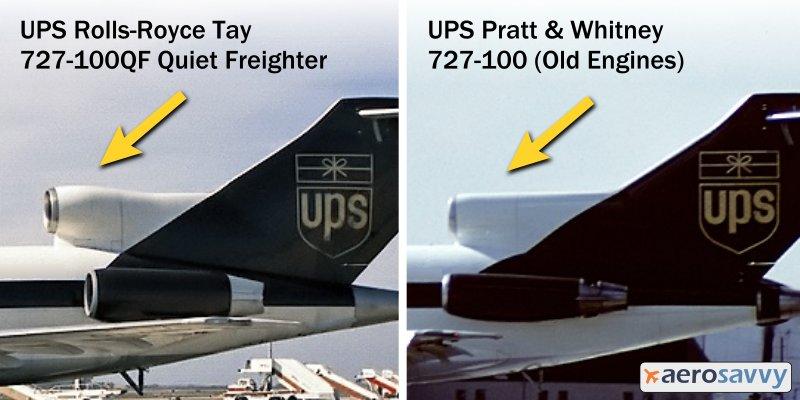 UPS 727 S-Duct Comparison - UPS Passenger Aircraft - AeroSavvy