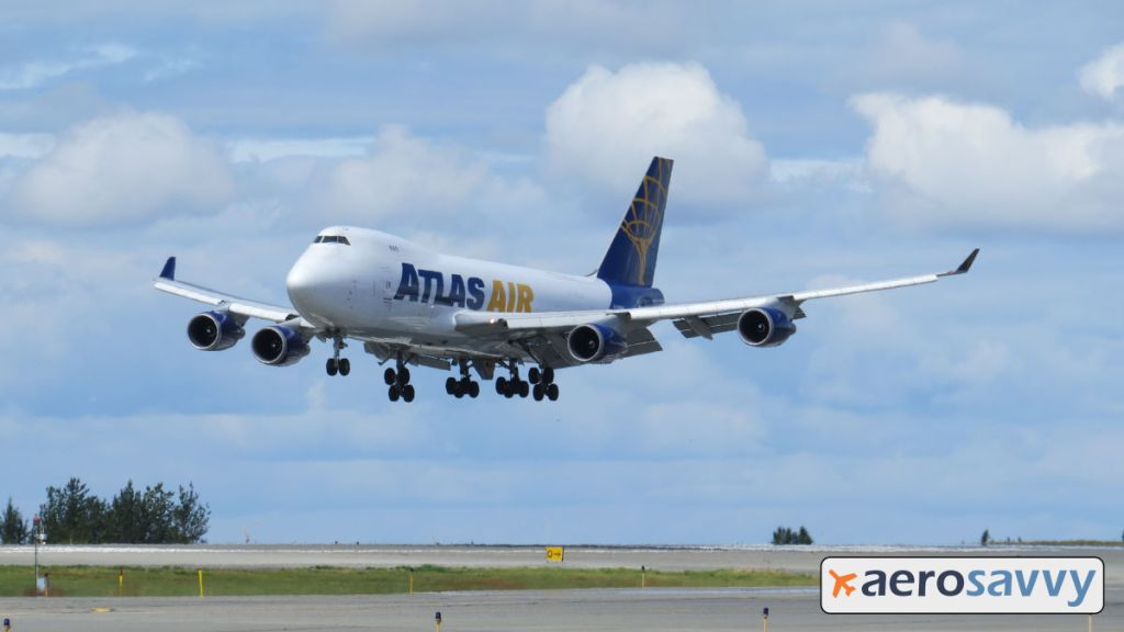 Atlas Air 747-400F landing in Anchorage Alaska. - AeroSavvy
