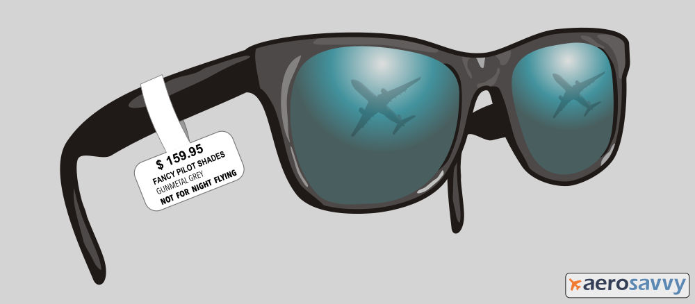 Sunglasses with a price tag on them. You might be a cargo pilot... - AeroSavvy
