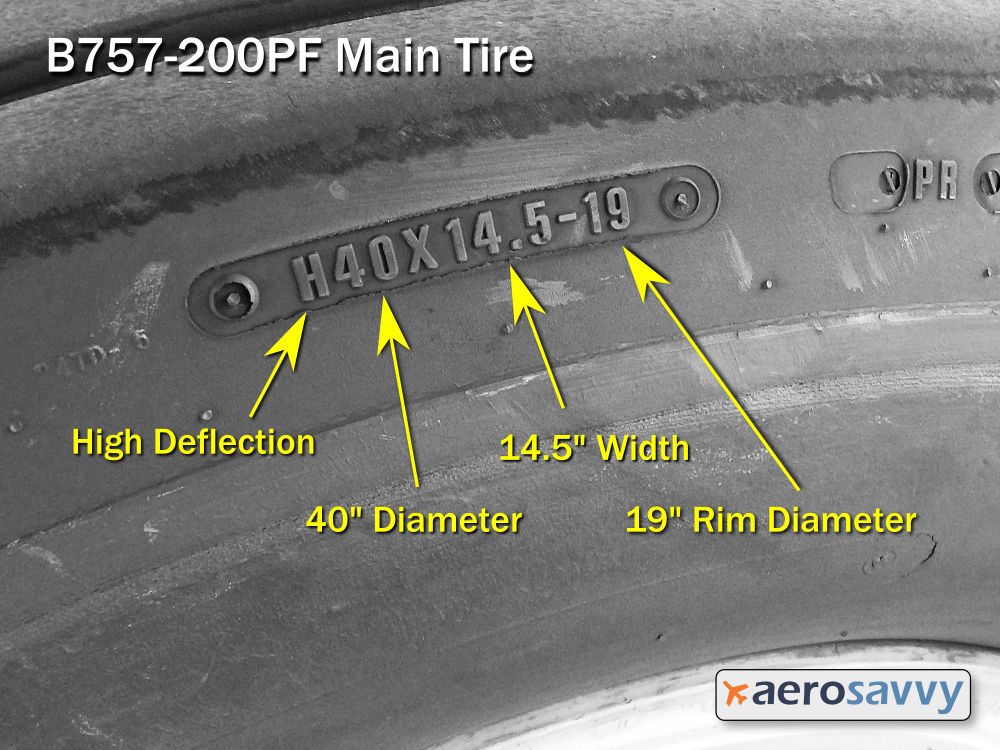 Tire size molded into side of a 757 tire:. H40X14.5-19
