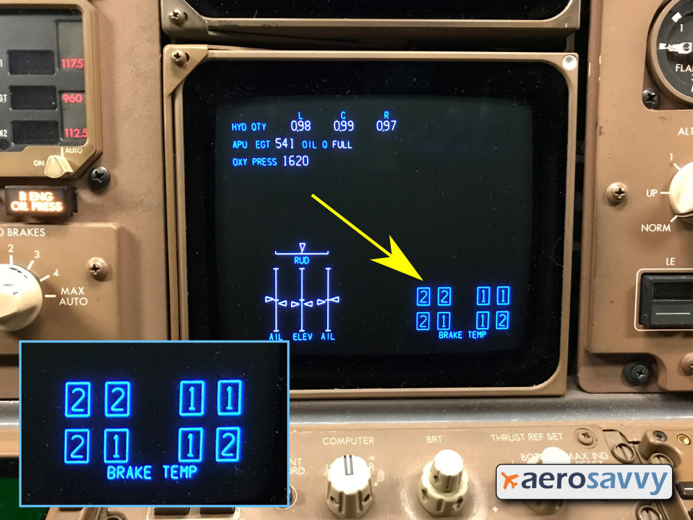 """Lower, center CRT on the 767 instrument panel. Lower-right side of the screen shows 8 rectangles arranged like the main landing gear, 4 rectangles on each side. Inside each rectangle is a number. In the photo, left gear numbers are 2, 2, 2, and 1. Right gear are 1, 1, 1, and 2.  Label below the rectangles says """"BRAKE TEMP"""""""
