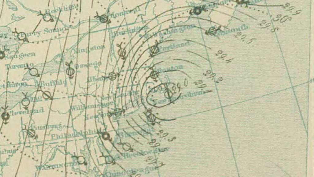 weather map from eighteen eighty eight showing pressure lines (isobars) and wind arrows.
