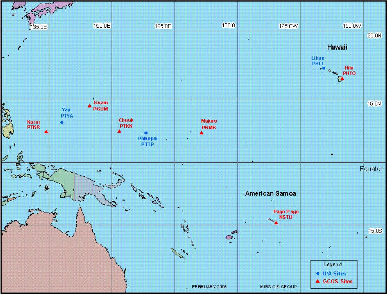 Map of South Pacific with 9 balloon launch locations (Guam, Chuuk, Hawaii, Pago Pago, and more)