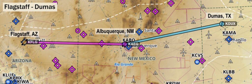 Map showing route from Flagstaff to Dumas, Texas