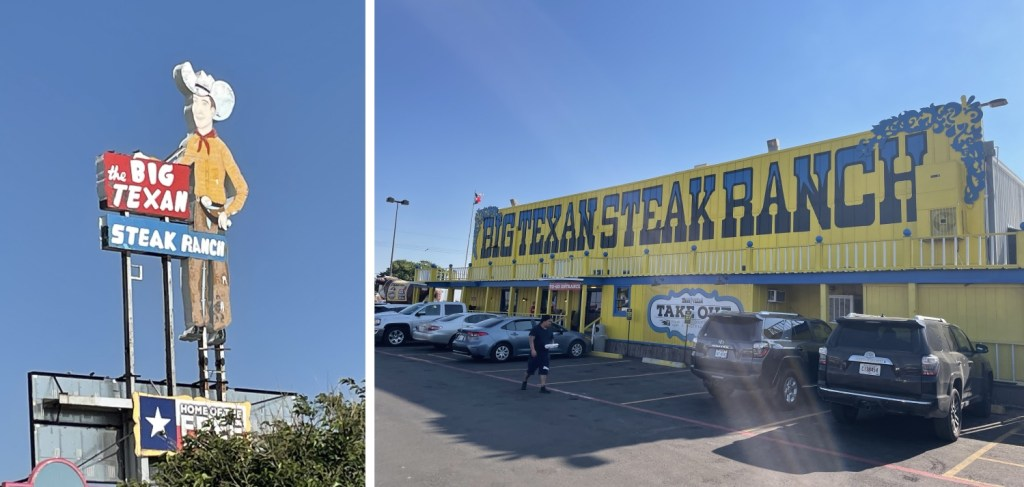 exterior photos of the really gaudy Big Texan Steak Ranch. Bright yellow building with a giant smiling cowboy sign.