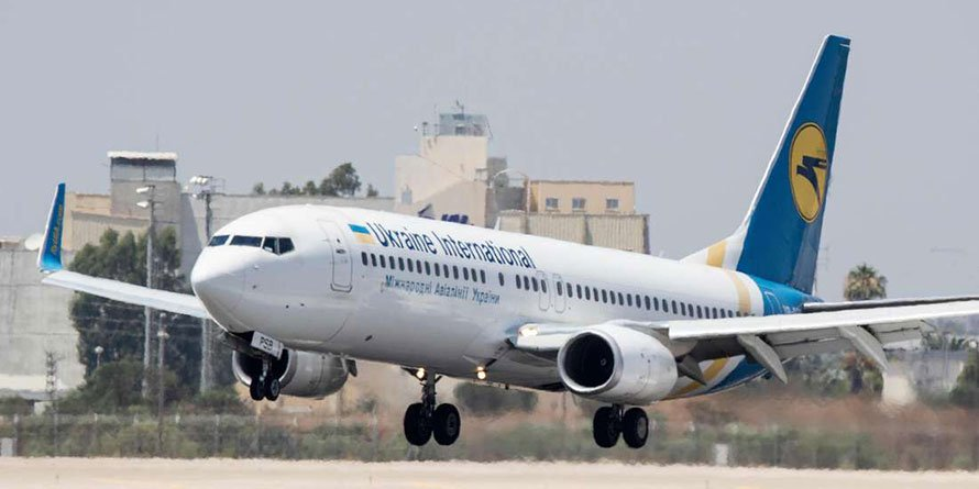 A Ukraine International Airlines Boeing 737-3E7