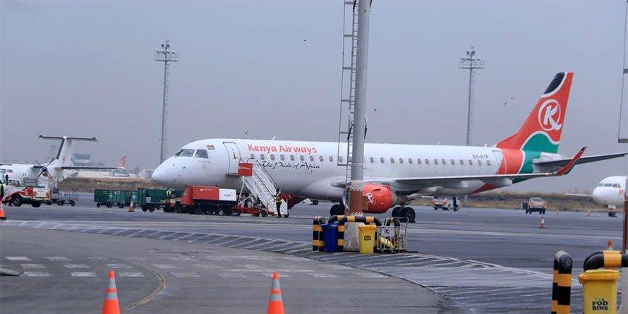 A Kenya Airways aircraft at Jomo Kenyatta International Airport
