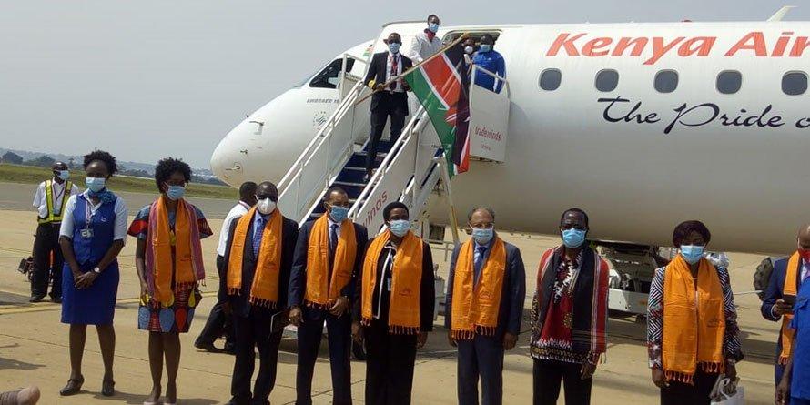 Kenya Airways maiden flight landed in Kisumu on