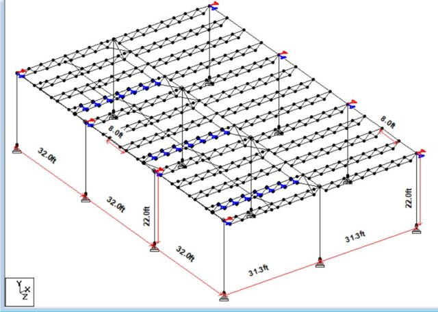 Commercial open web steel roof trusses and main I beams