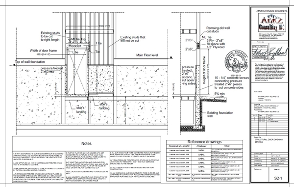 building plans door opening in foundation wall and tall wall