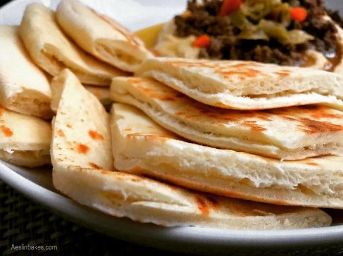 bazlama with hummus, spicy ground beef and giardiniera