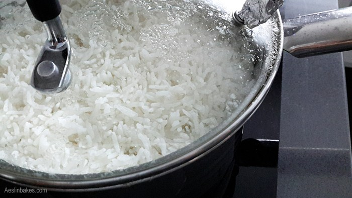 Rice steaming in the pot