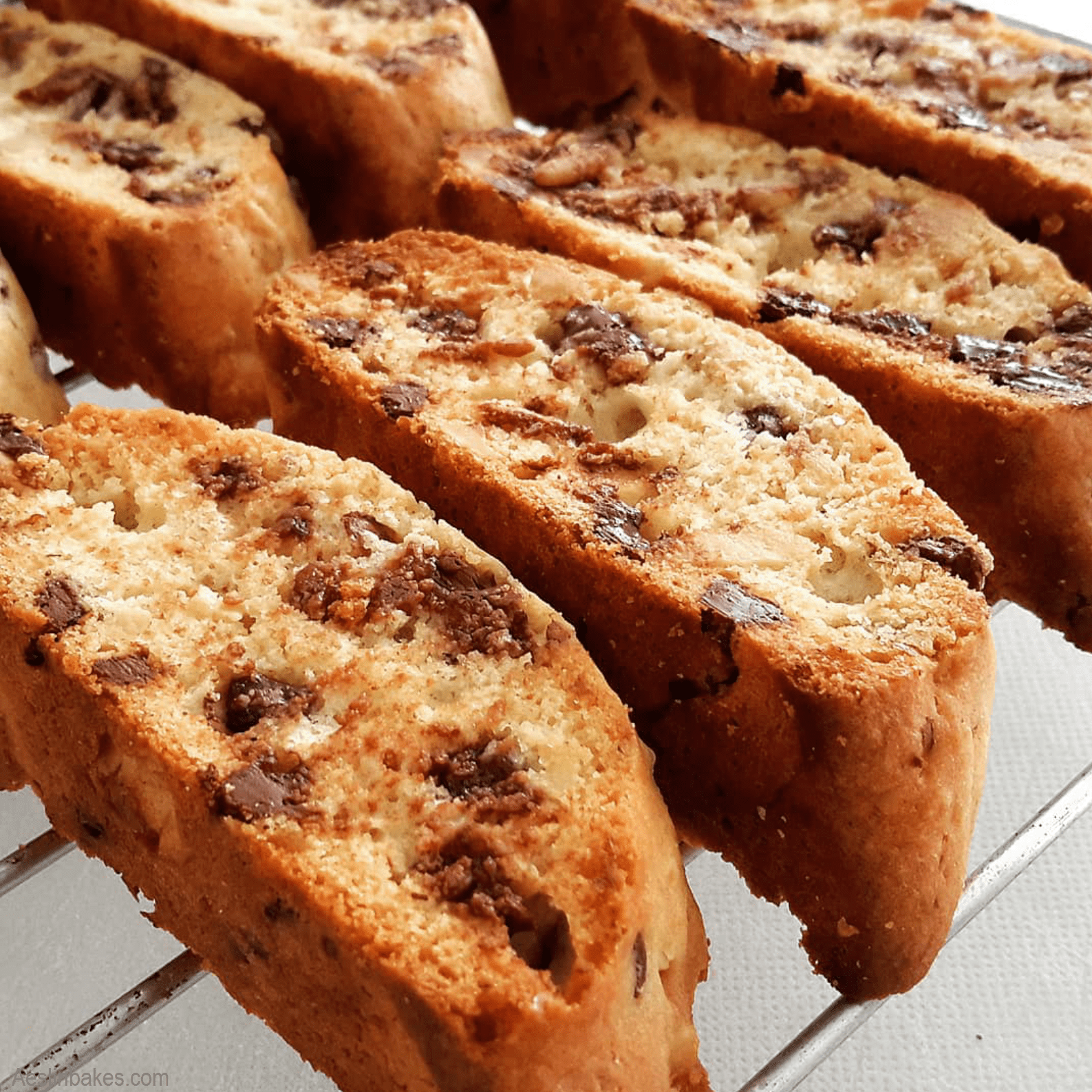 Chocolate Chip Walnut Biscotti on a cooling rack