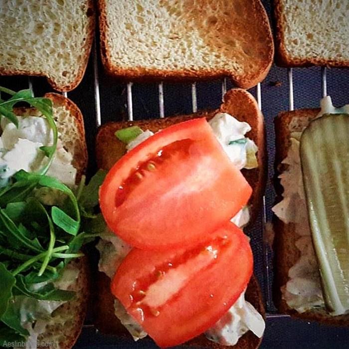 Turkey SaladSandwich with arugula, tomato or pickle