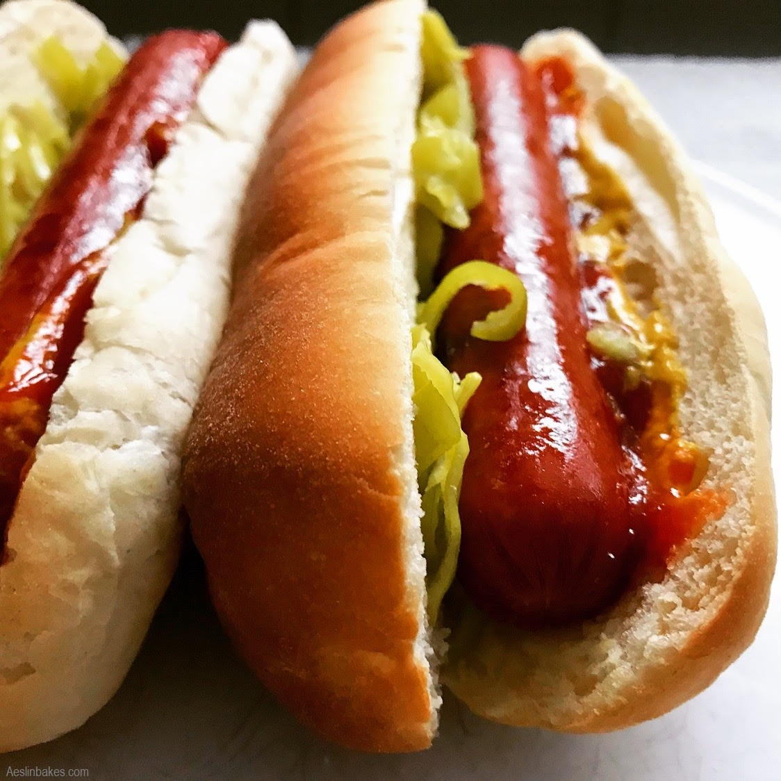 Hotdogs cooked front