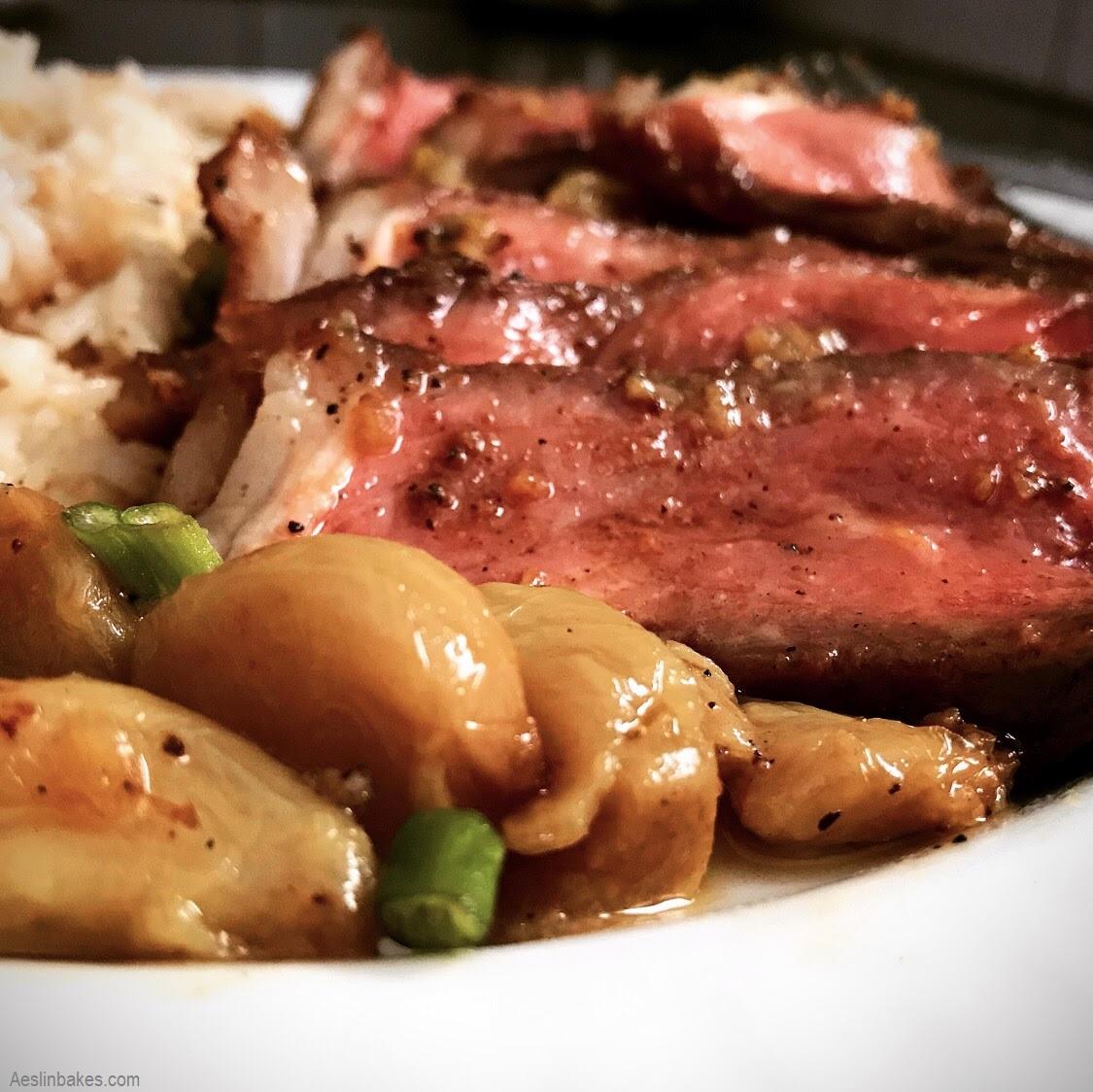 Reverse-Seared Steak with Roasted Garlic