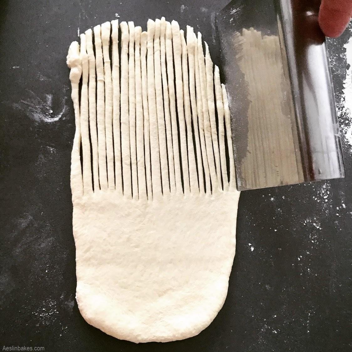 cutting dough for wool roll bread
