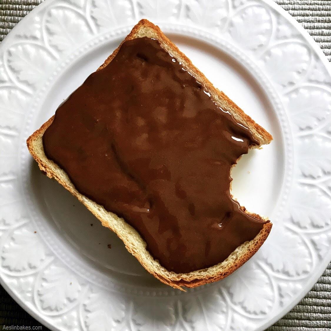slice of brioche with praline gianduja