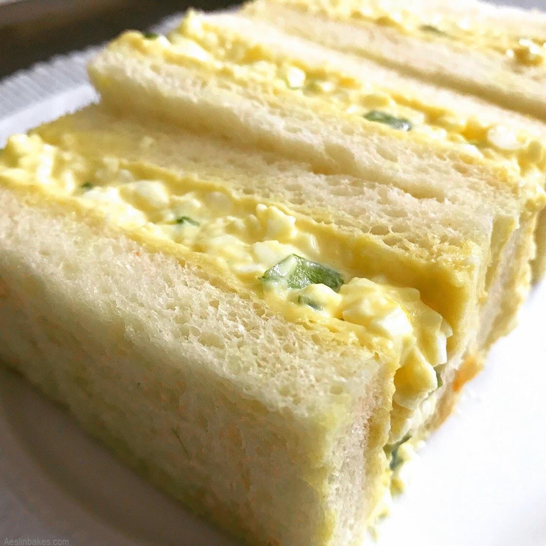 egg salad on milk bread angle