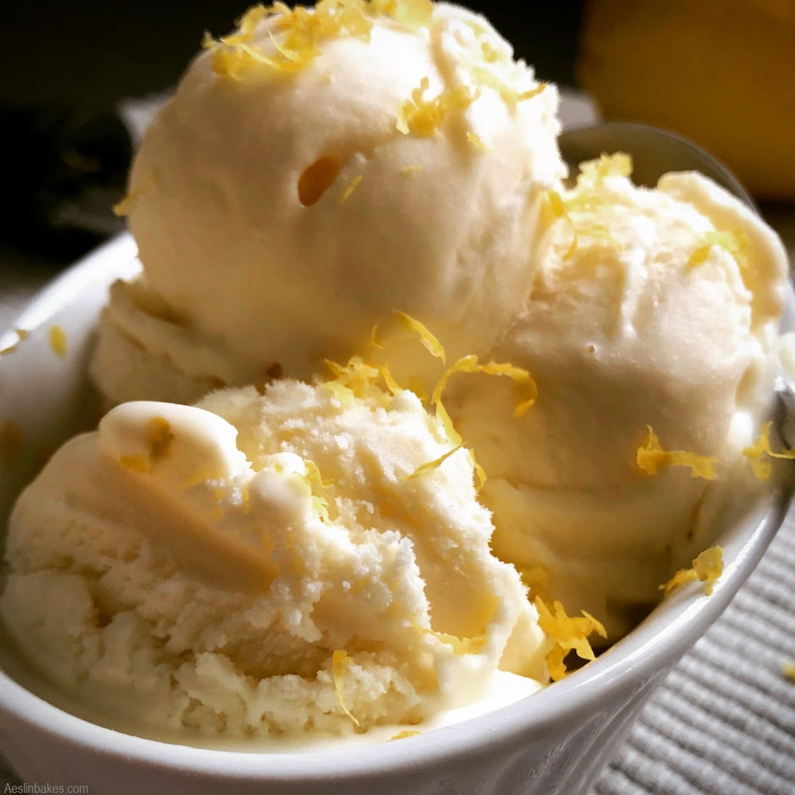bowl of lemon ice cream