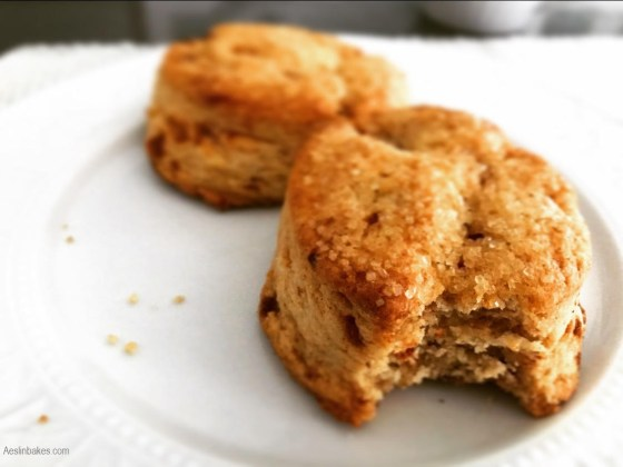 brown butter scones on a plate wide