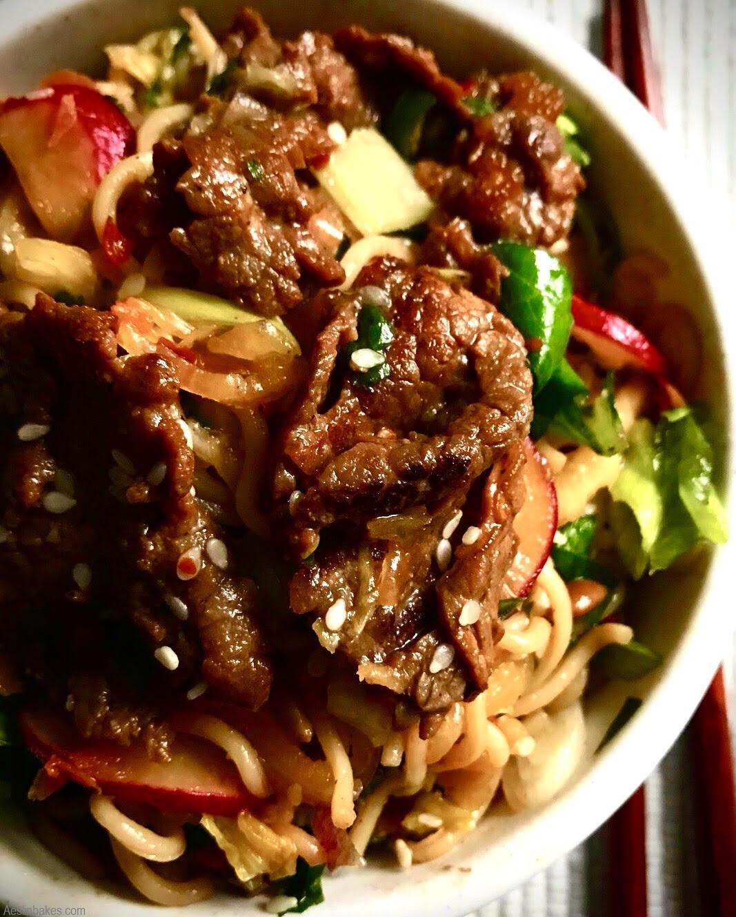 Asian noodle salad with beef bulgogi