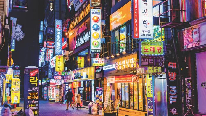 Colourful billboards on the street of Seoul