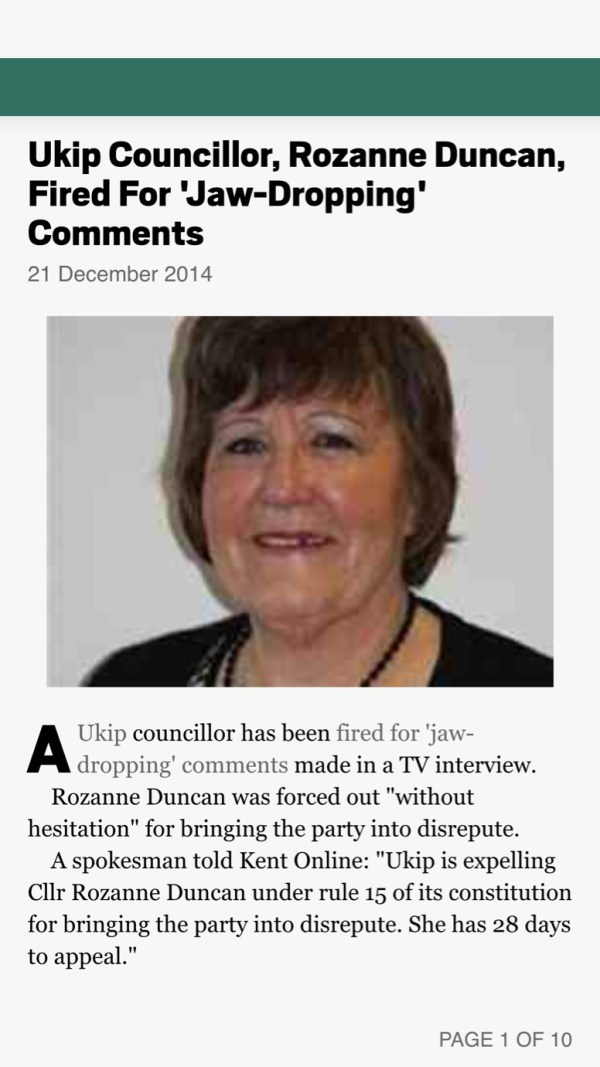 Article: Ukip Councillor, Rozanne Duncan, Fired For 'Jaw ...