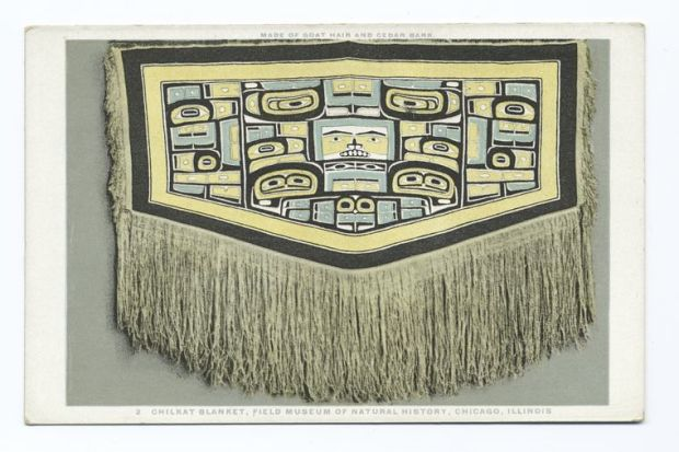 """""""Chilkat Blanket, Field Museum of Natural History, Chicago, Illinois, Made of Goat Hair and Cedar Bark"""" by Field Museum of Natural History is licensed under CC0 1.0"""