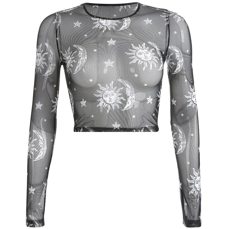 Sheer Mesh Cupid Tee Sun Moon Print Long Sleeve