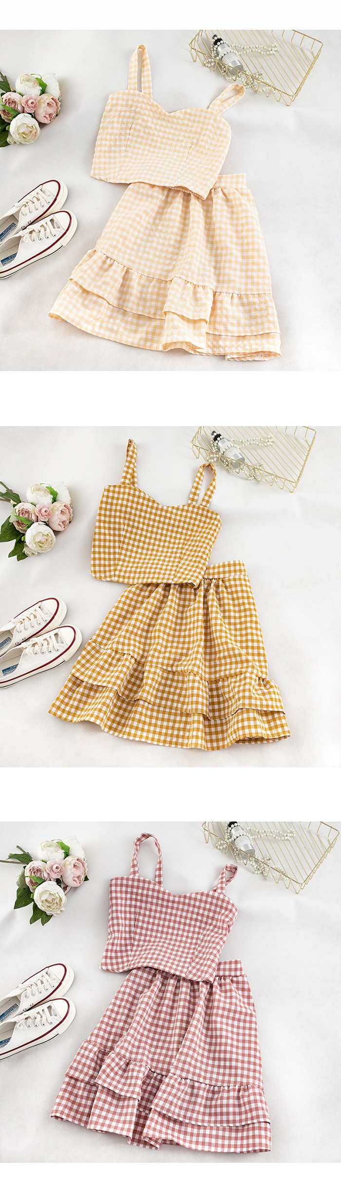 Two Pieces Sets Elastic Spaghetti Plaid Tops And Skirts