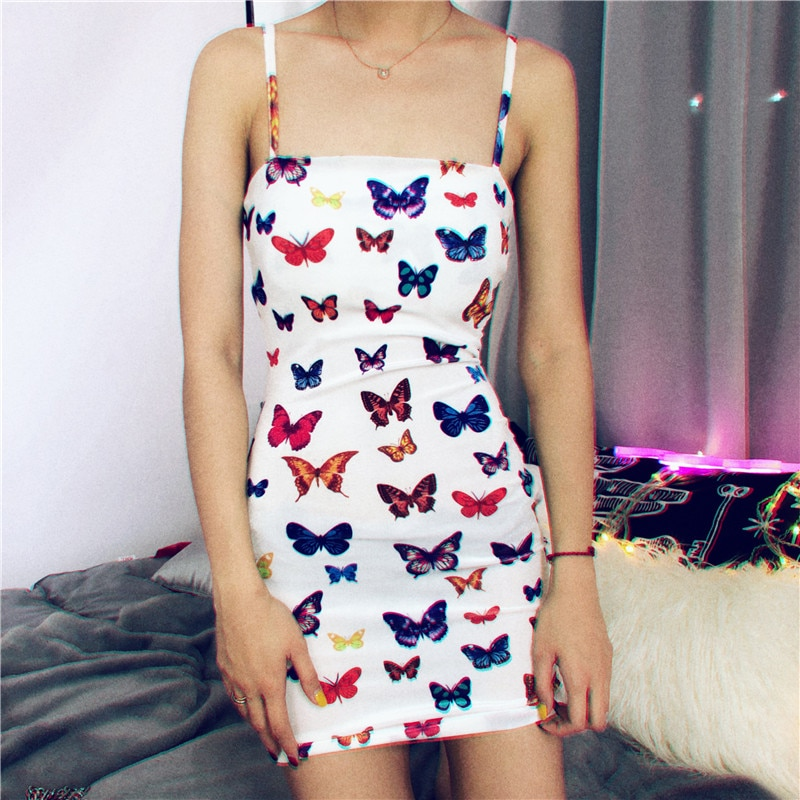 Colorful Butterfly Printed dress