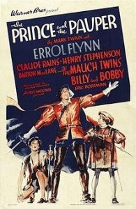The Prince and the Pauper, by Mark Twain, was made into a movie starring Errol Flynn. Image Source: Virtual Virago http://virtualvirago.blogspot.com/2012/04/from-hannibal-to-hollywood-mark-twain.html