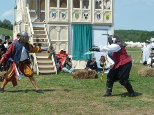 Serving as a Pennsic Champion. Photo by Lady Saskia van Ouwater